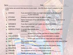 Art Forms Exam Study Sheet