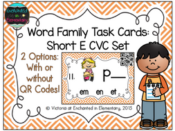 Word Family Task Cards: Short E CVC Set