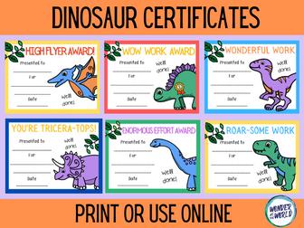 Dinosaur classroom reward certificates to print or use online