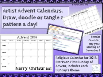 Artist  Advent Calendars.