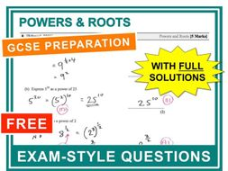 GCSE 9-1 Exam Question Practice (Powers and Roots)