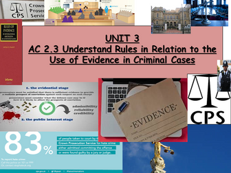 Criminology (New Spec)Unit 3-AC2.3: Rules of Evidence -Lesson & Student Booklet