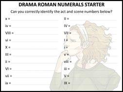 Drama Roman numerals starter