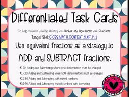 Adding and Subtracting Fractions Differentiated Task Cards