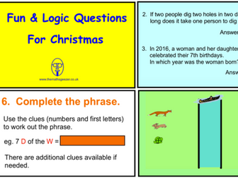 Fun & Logic Questions for Christmas (SmartBoard version)