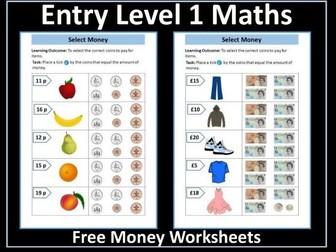 Money Worksheets: AQA Entry Level 1 Maths