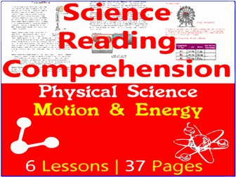 Physical Science Reading Comprehension Passages   Motion & Energy   Grade 5-6