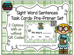 Sight Word Sentences Task Cards: Pre-Primer Set