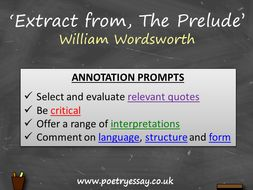 William Wordsworth – 'Extract from, The Prelude' – Annotation / Planning Table / Questions / Booklet