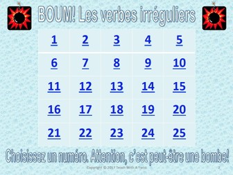 BOUM! French Grammar Game-Irregular Verbs: Faire Avoir Aller Etre- End of year/End of unit