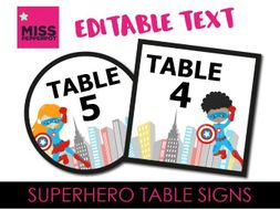 Superhero Table Signs, Superhero Theme, Superhero Resources, Superhero signs, Superhero labels