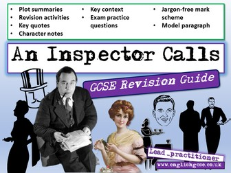 An Inspector Calls Lessons 17 - 23, Revision Guide, Escape Room, Exam Questions