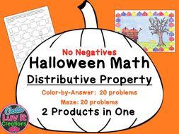 halloween math distributive property no negatives maze color by