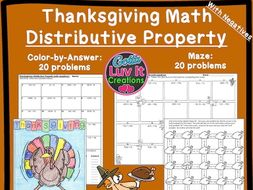 Thanksgiving Turkey Math - Distributive Property With Negatives Maze & Color by Number Bundle