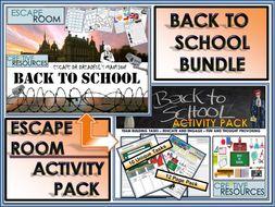 Back to School Escape Room Activity Bundle