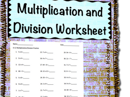 Multiplication and Division Practice Worksheet (0s-12s) by ...