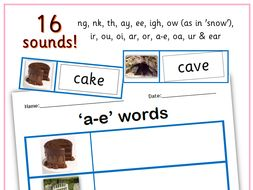 Phonics digraphs and trigraphs (ng, ou, ar, a-e, etc) activity ...