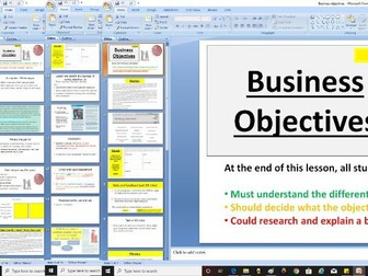 AQA GCSE 9-1 Business - 3.1.3 Setting Business Aims and Objectives