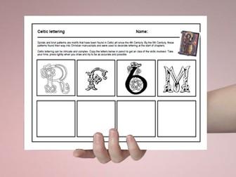 Art cover work / cover lesson - Celtic lettering - 1hr activity
