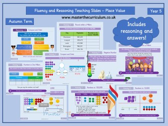 Year 5 - Place Value Editable Fluency Teaching Slides - White Rose Style