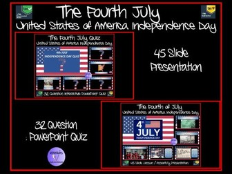 The Fourth July (4th July) - American Independence Day - Presentation and Quiz