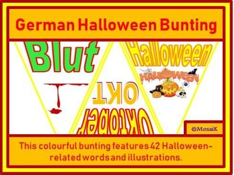 German  42 Flags for Halloween Bunting
