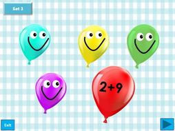 Balloon pop - Addition of numbers within 20