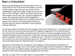 Reading Comprehension - Sugar Tax