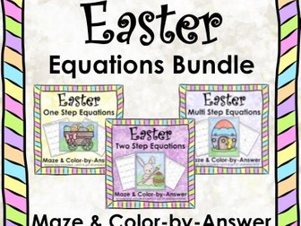 Solving Equations Easter Spring Math Equations Maze  Color by