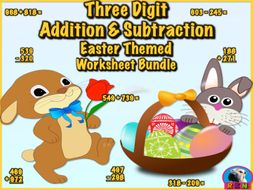 Three Digit Addition and Subtraction Worksheet Bundle (60 pages) - Easter Themed