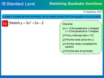 IB Mathematics SL - Functions and Quadratics (2018-2019)