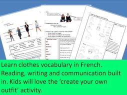 Les vetements - clothes French vocabulary complete class with communication and fun built in.