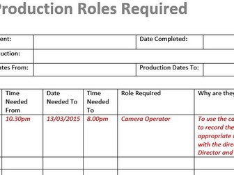 Production Roles Template (Film & TV/Media)
