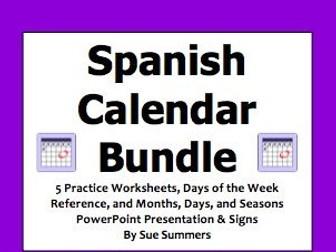 Calendar Days Of The Week In Spanish.Spanish Calendar Bundle Days Of The Week Months And Seasons