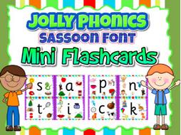 Phonics Sassoon Font- 1/4 size 44 phonics sounds Mini-Flashcards
