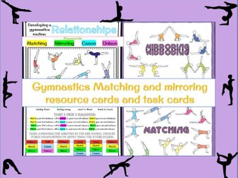 Gymnastics matching and mirroring task cards / display posters