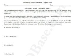 Basic Algebra Worksheet 2 – Pre-Algebra Review - Divisibility Rules 1