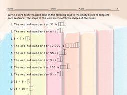 Cardinal-Ordinal Numbers Sentence Shapes