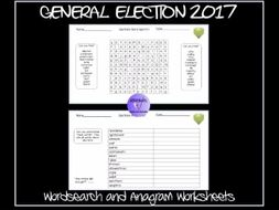 The General Election Wordsearch and Anagram Worksheets