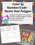 Classifying Polygons by Sides Color by Number/ Code