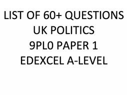 List of Possible Questions UK Politics 9PL0 Paper 1