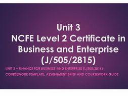 NCFE Level 2 V.Cert unit 3 finance for business and enterprise