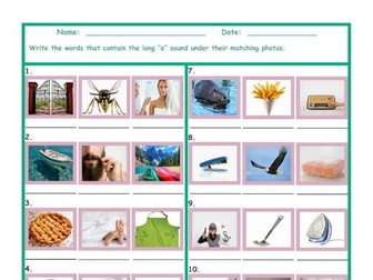 Phonics Long E Vowel Sound Worksheet