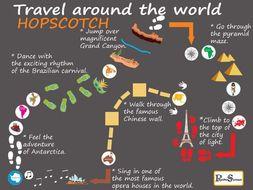 Travel around the World / Colorful Path Set / Printable floor design for Nursery School / Hopscotch