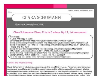 Edexcel Music A Level (from 2016) Clara Schumann including Wider Listening and Context