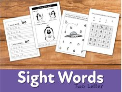 WORKSHEETS To Reinforce Two Letter Sight Words (4-7 years)