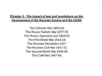 OCR A Level History - Russia and its rulers 1855-1964 FULL CHAPTER 3 NOTES A* QUALITY