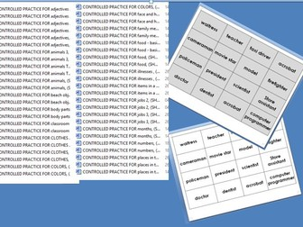 Controlled practice ESL game cards - vocab, quick reading, matching cards 66 sets of vocab