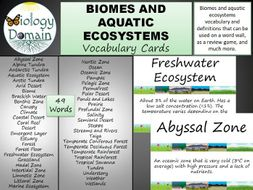 Biomes and Aquatic Ecosystems Word Wall Vocabulary Cards