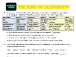 THE COST OF ELECTRICITY - ENERGY AND KILOWATT HOURS